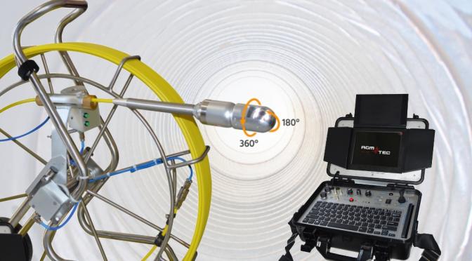 Cámara cctv rotatoria para Inspección de redes de tuberías y conductos